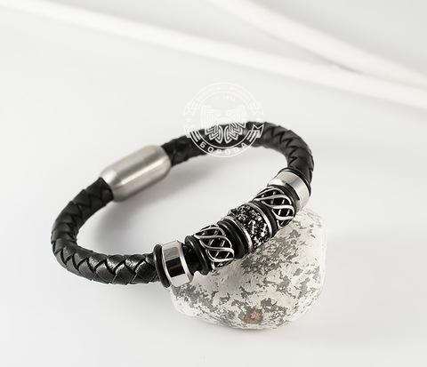 BM370 Мужской браслет из стали и кожаного шнура на магнитной застежке (21 см)