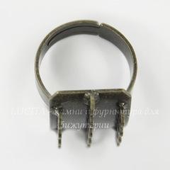 Основа для кольца с прямоугольной площадкой (14 петелек)(цвет - античная бронза)