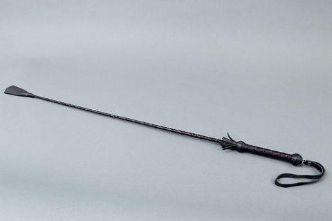 Короткий плетеный стек с наконечником-фаллосом - 70 см.