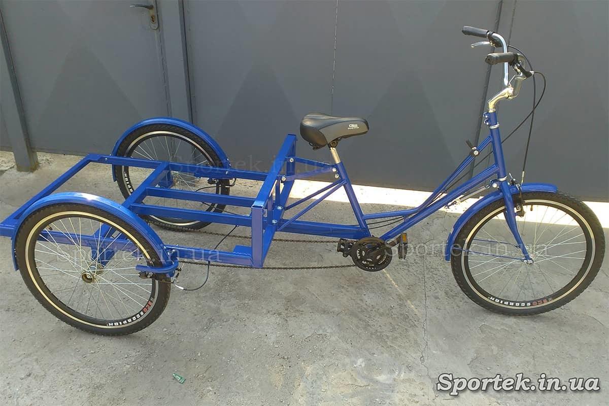 Трехколесный грузовой велосипед 'Рекламный' (синий) для уличной торговли и рекламы с 24 колесами