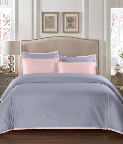 Постельное белье однотонное Coctail серый-розовый, Sharmes