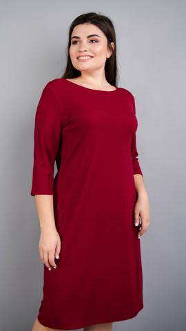 Арина креп. Универсальное  платье больших размеров. Бордо.
