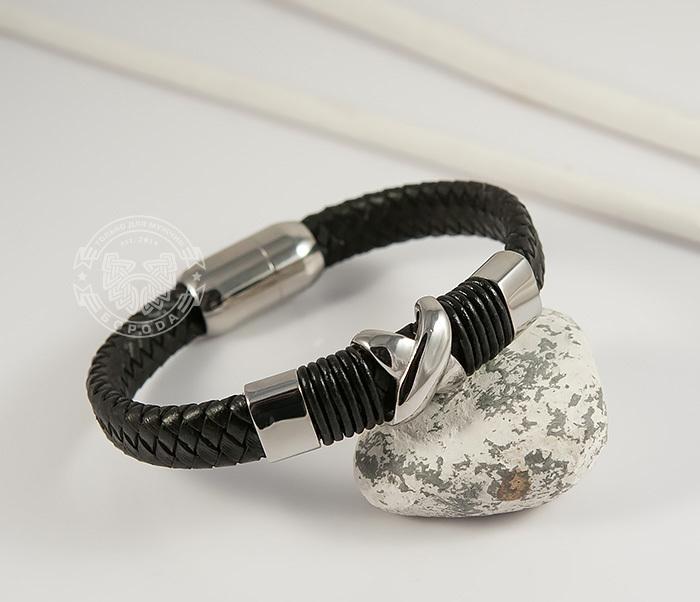 Стильный мужской браслет из стали и кожаного шнура на застежке с магнитом (21,5 см)