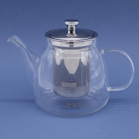 Чайник с носом  стекляный с металлическим ситом, 800мл