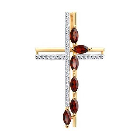 732080 - Подвеска-крест из золота с гранатами и фианитами
