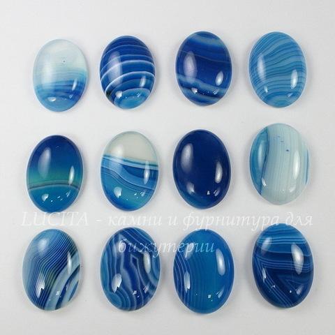 Кабошон овальный Агат синий (тониров), 25х18 мм
