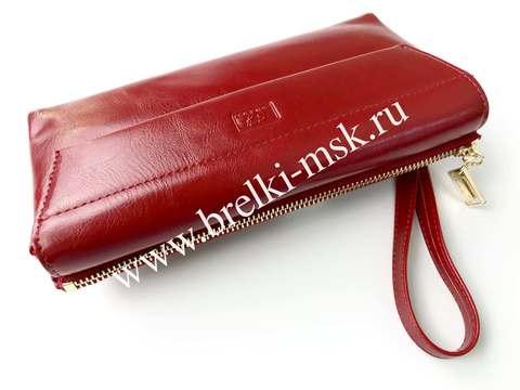 Женский клатч-кошелек из натуральной кожи. Цвет Красный
