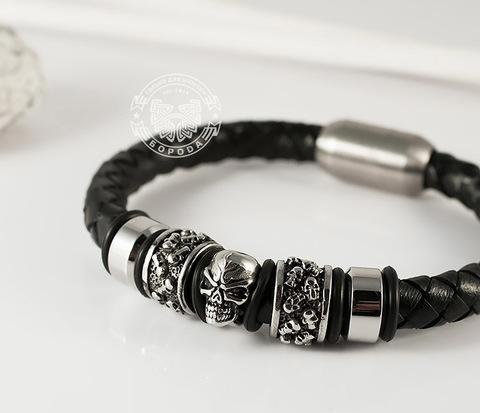 Мужской браслет с черепом из стали и кожаного шнура, магнитная застежка (20 см)
