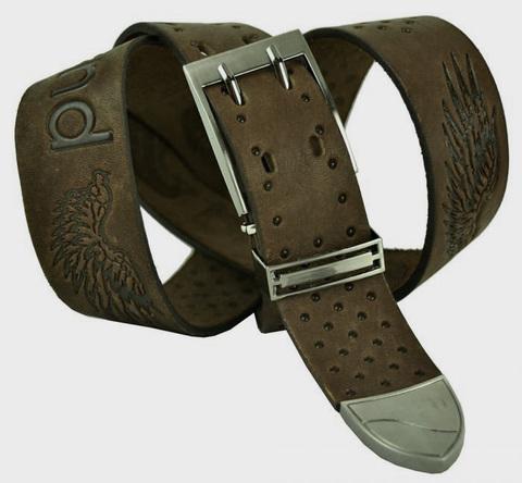 Ремень мужской кожаный коричневый 40 мм для джинс 40legend-035