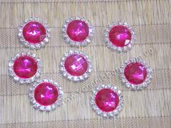 Камни круглые в стразовом обрамлении малиновые