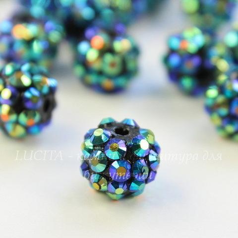Бусина для шамбалы со стразами, цвет - темно-синий + цветной, 12 мм