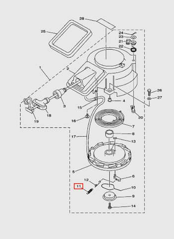 Пружина стопора-упора  для лодочного мотора T15, OTH 9,9 SEA-PRO (7-11)