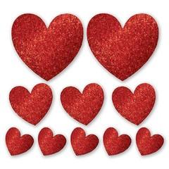 Баннер-комплект Сердце блеск 10 шт, 12, 21, 30 см.