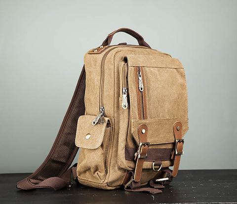 Коричневый городской рюкзак с одной лямкой через плечо