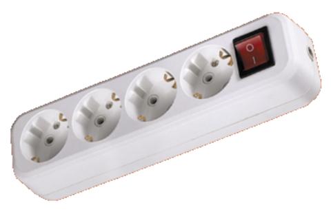 Колодка розеточная 4 гнезда 2П+3 c выключателем 16А 250В белая TDM
