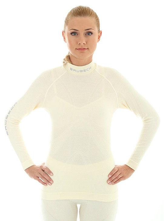 Термобелье рубашка Brubeck Extreme Merino белая (LS10500) женская