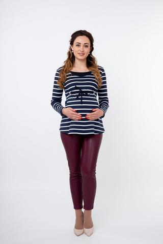 Блузка для беременных и кормящих 09826 синий/белый