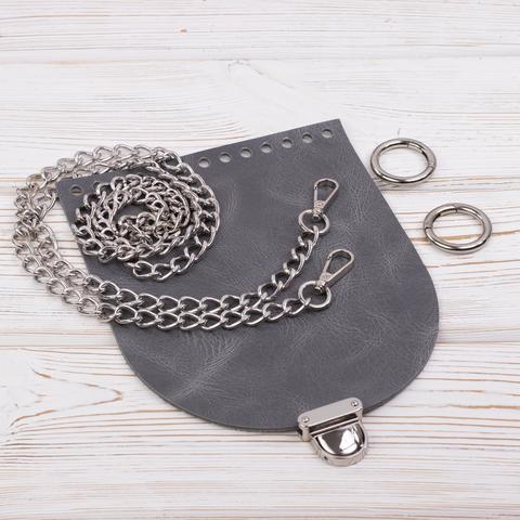 """Комплект для сумочки Орео """"Серый пулап"""" с цепочкой"""