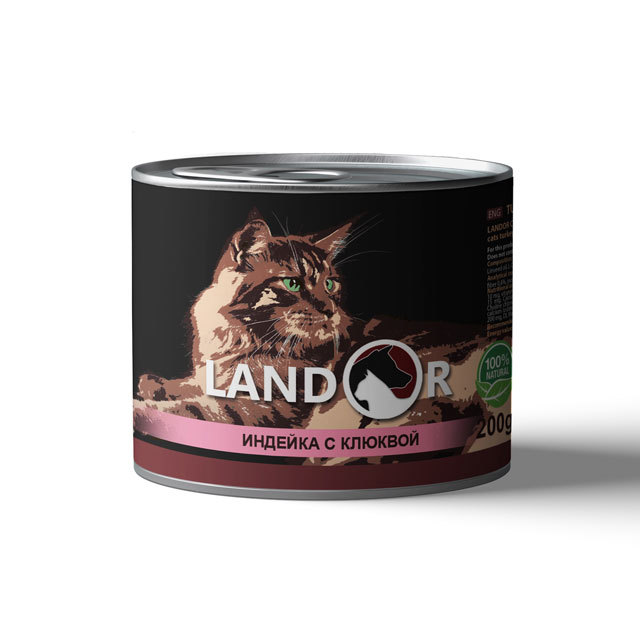 Влажные корма Консервы для стерилизованных кошек, Landor, с индейкой и клюквой cats-200gr-sterilized-turkey_cranberries.jpg