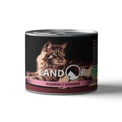 Консервы для стерилизованных кошек, Landor, с индейкой и клюквой