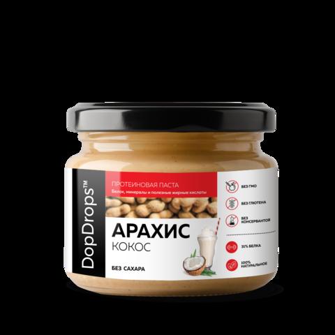 DopDrops Протеиновая Арахисовая паста c Кокосом [без сахара], 250г