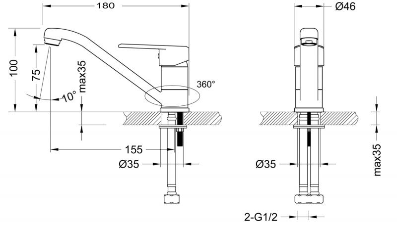 Смеситель для раковины Lemark Point LM0307C