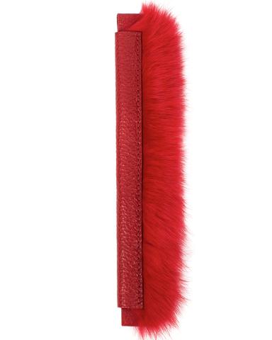 Сменная ручка красного цвета из кожи и меха кролика