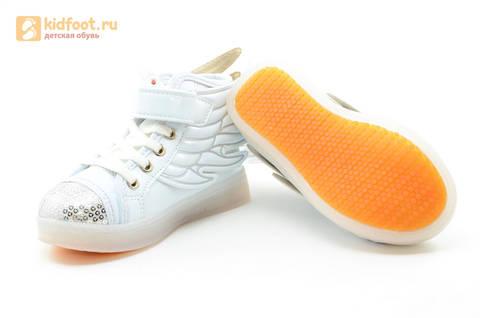 Светящиеся кроссовки с крыльями с USB зарядкой Бебексия (BEIBEIXIA), цвет белый серебряный, светится вся подошва. Изображение 15 из 18.