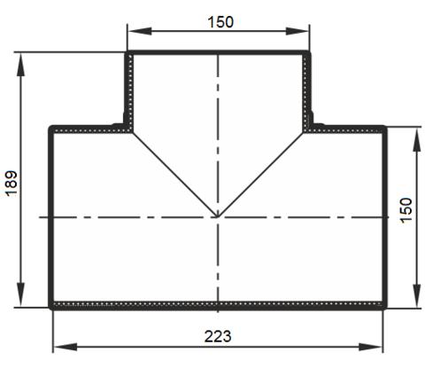 15ТП Тройник Т-образный 150 мм пластик