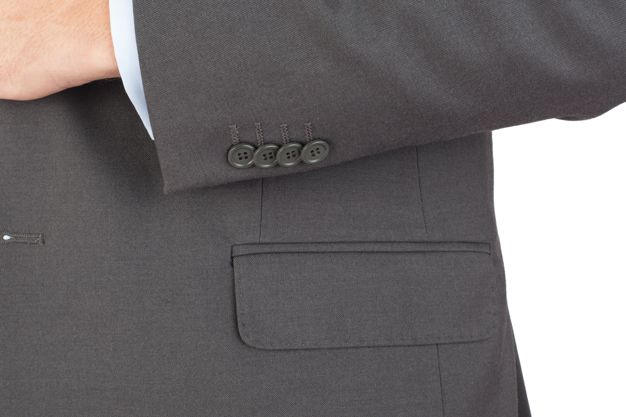 Тёмно-серый костюм из 100%-ной шерсти, накладной карман