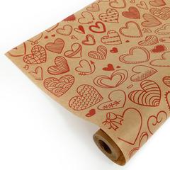 Упаковочная бумага Крафт Сердечки фигурные красные, 0,72*10 м, 40 гр, 1 шт.