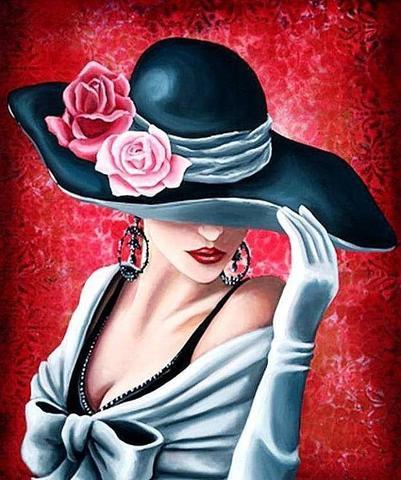 Картина раскраска по номерам 40x50 Девушка в шляпе на ...
