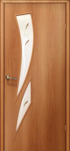 Дверь Сибирь Профиль Стрелиция (С-2ф) фьюзинг, фьюзинг, цвет миланский орех, остекленная