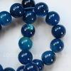 Бусина Агат, шарик, цвет - темный синий, 10 мм, нить