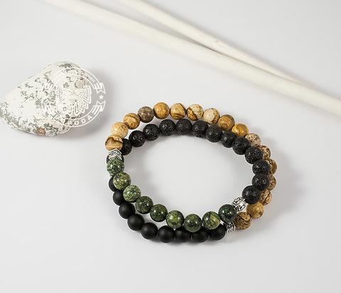 Двойной мужской браслет из шунгита, яшмы, лавы и змеевика. «Boroda Design»