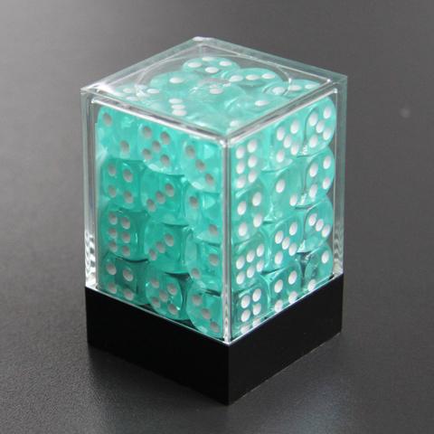 Набор шестигранных кубиков прозрачный морской волны (36 штук)