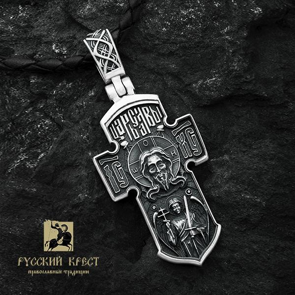 Серебряный крестик мужской Ангел Хранитель. Морской