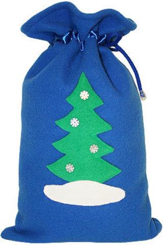 Синий мешочек для подарков Ёлочка