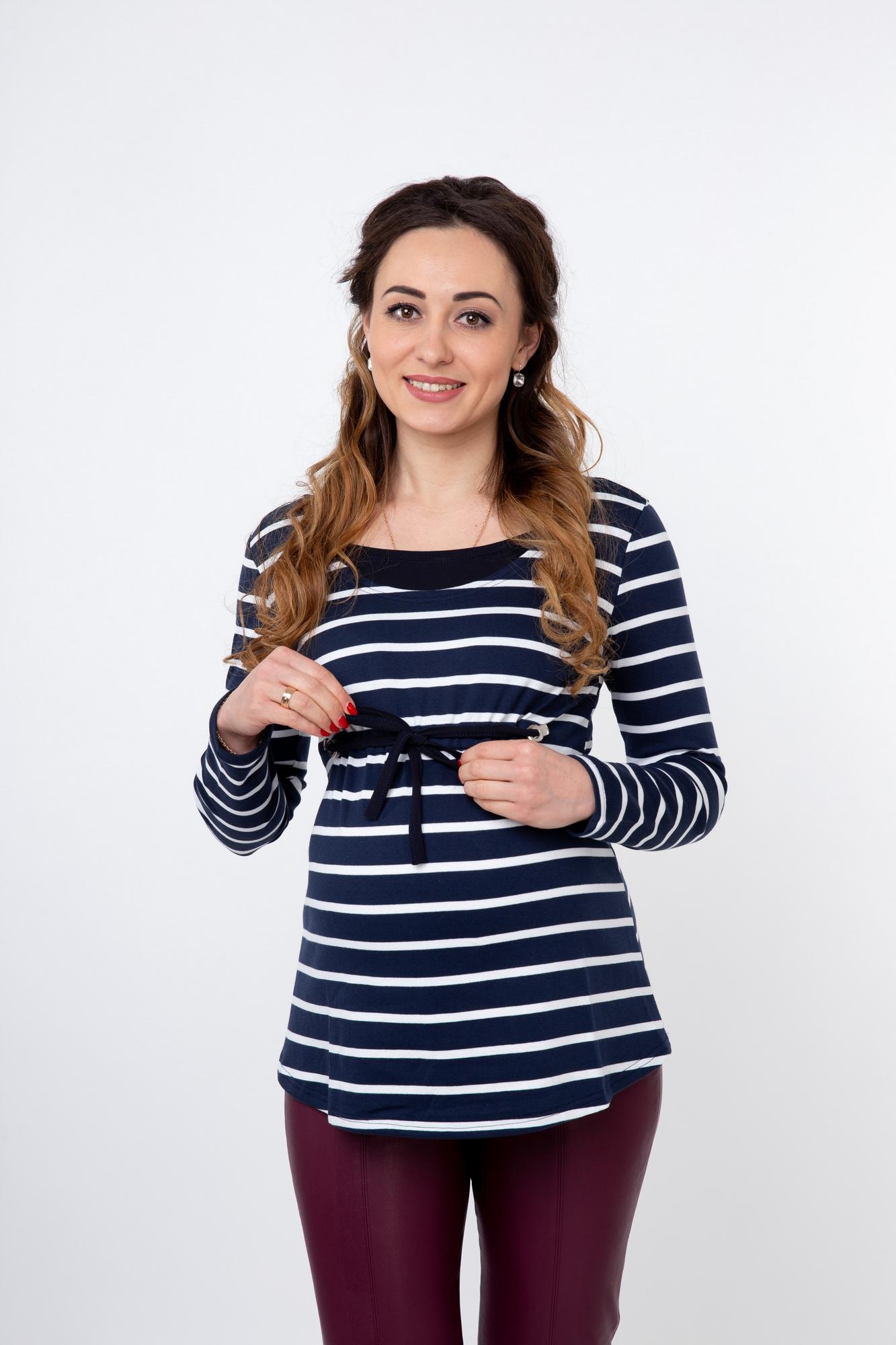 Блузка 09826 синий/белый