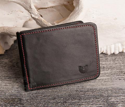Кошелек с зажимом для денег из гладкой черной кожи.»Boroda Design»