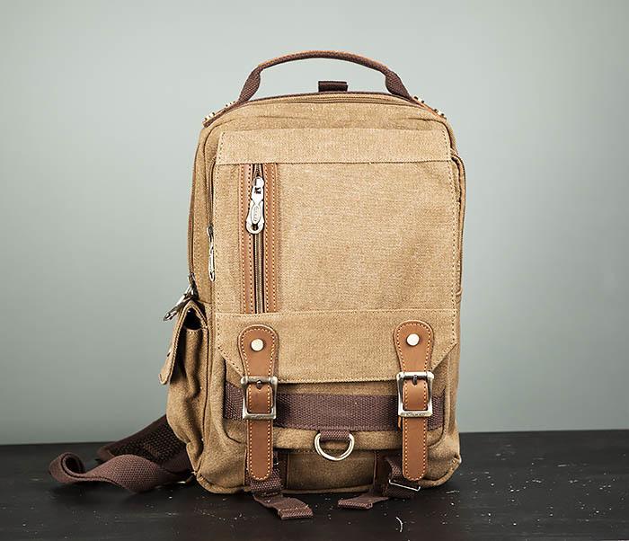 BAG394-2 Коричневый городской рюкзак с одной лямкой через плечо фото 02