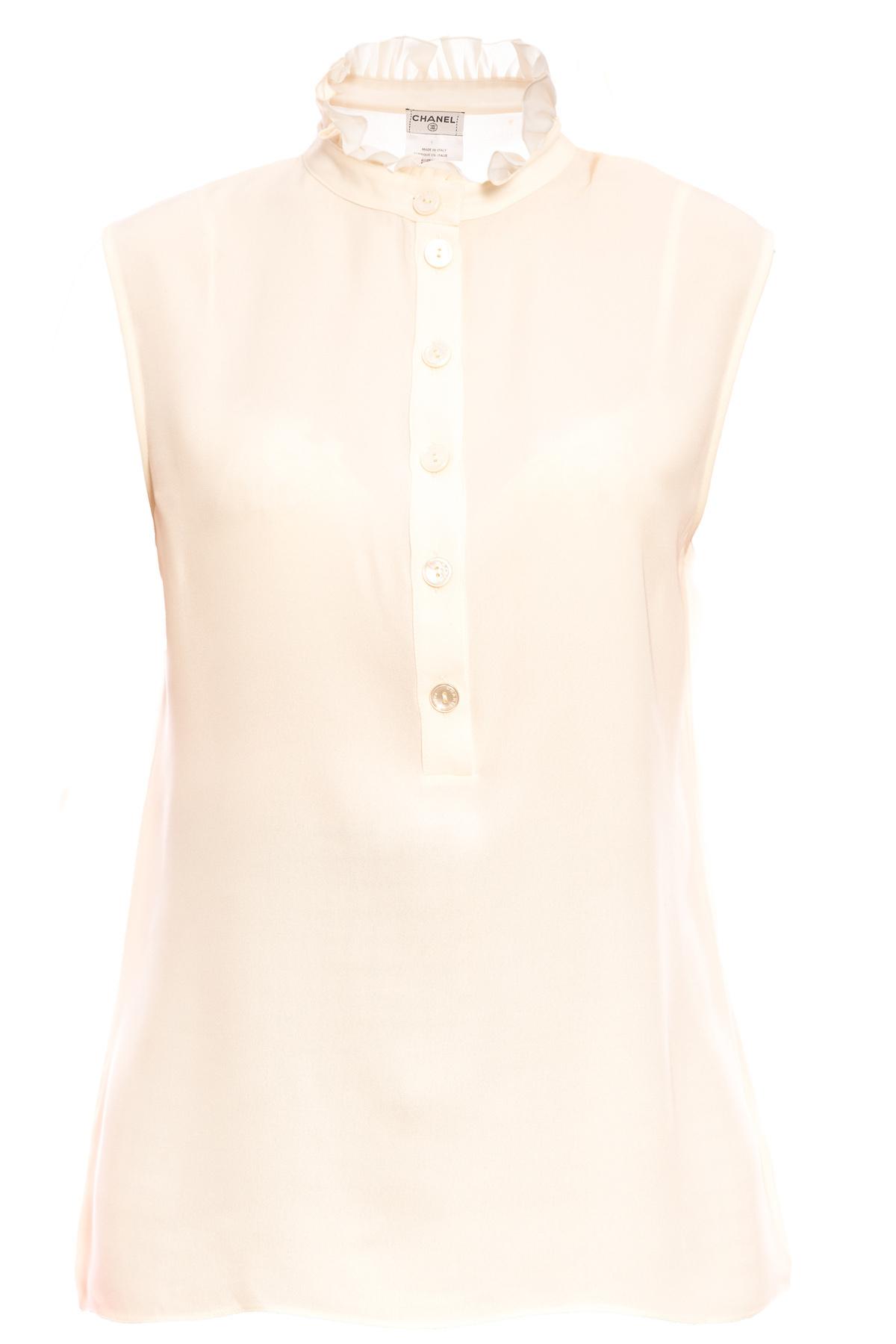 Шелковая блузка Chanel с воротником-стойкой цвета слоновой кости, 42 размер