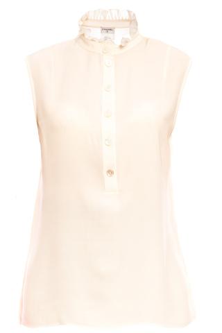 Шелковая блузка с воротником-стойкой цвета слоновой кости, 42 размер