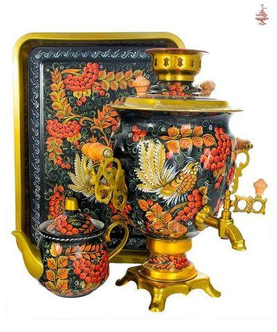 Самовар «Рябина на черном» электрический формой желудь 3л в наборе с подносом и чайником