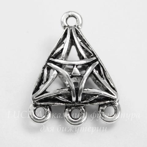 """Коннектор """"Треугольник"""" (1-3) 22х17 мм (цвет - античное серебро)"""