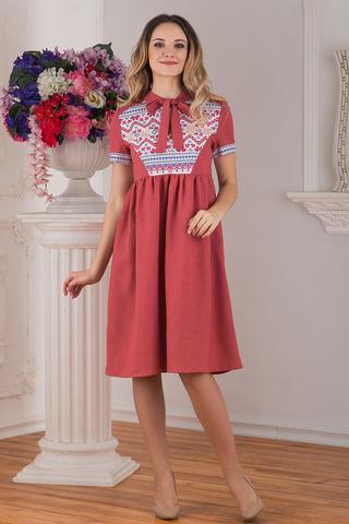 Современное русское льняное платье в стиле бохо розовое Каберне от Иванка