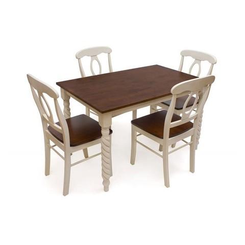 Стол обеденный Наполеон прямоугольный деревянный античный белый/темный дуб