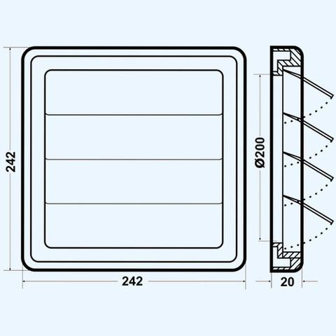 Решетка вытяжная с гравитационными жалюзи (242х242, D200) серая Эра 2424К20Ф