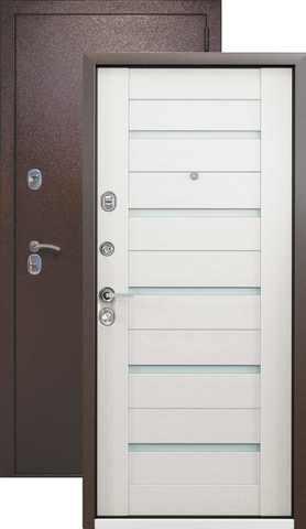 Тёплая дверь входная Страж Kvadra-3K Techno, 2 замка, 1,5 мм  металл, (медь антик+беленый дуб)