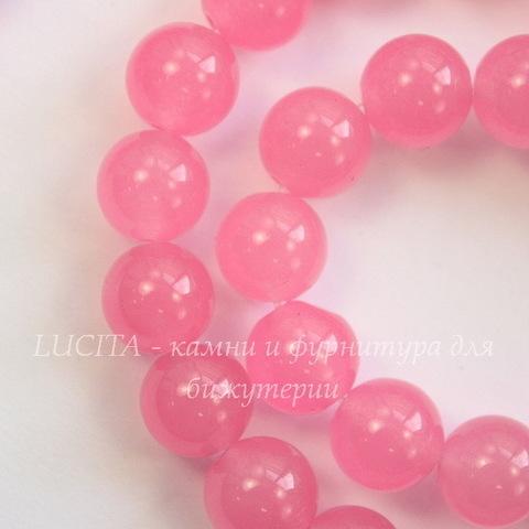 """Бусина Жадеит, шарик, """"Розовый рассвет"""", 8 мм, нить"""